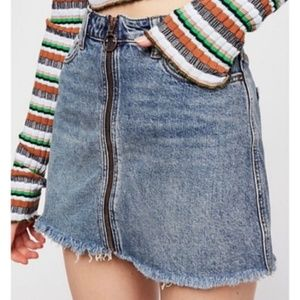 NWT Free People Zip It Up Denim Mini Skirt